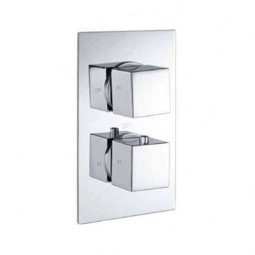 Cube Square Chrome Twin Thermostatic Concealed Shower & Diverter (Tmv2)